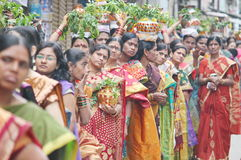 Ladies standing in Queue on the day of Bonalu Royalty Free Stock Image