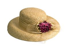 Ladies Straw Hat. With flower decoration.  Isolated on white Royalty Free Stock Photos
