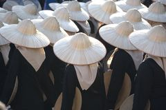 Ladies with Straw Hats Royalty Free Stock Photos