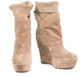 Ladies suede boots with integral legging Stock Photo