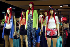 Ladies summer fashion clothing store Royalty Free Stock Photos