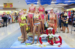 Ladies swimwear section at shopping mall. Mannequins displaying various styles of ladies swimwear at a sogo shopping mall in hong kong Royalty Free Stock Photos