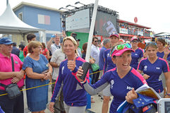 The Ladies Of Team SCA In Determined Mood Female Sportswomen - Sailing Royalty Free Stock Images