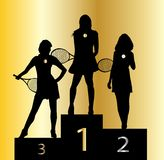 Ladies Tennis Champions. The ladies tennis champion medal winners in silhouette on a white background Stock Image