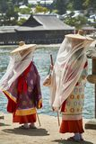 Ladies in traditional clothes on island Miyajima stock photo