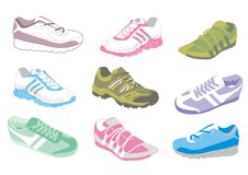 Ladies training shoes. Illustration of a variety of ladies training shoe styles and colours Stock Photography