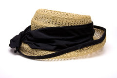 Ladies Vintage hat. Ladies Vintage straw hat from low perspective isolated against white background Royalty Free Stock Image