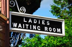 Ladies and Waiting Room sign, Hampton Loade. Ladies and Waiting Room Sign at the railway station, Hampton Loade, Shropshire, England, UK, Western Europe stock photo