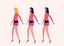 Ladies walking flat. Ladies walking in one direction isolated on background vector set Royalty Free Stock Photos