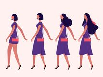 Ladies walking flat. Ladies walking in one direction isolated on background vector set Stock Photo
