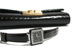 Ladies' watch and handbag Royalty Free Stock Image