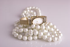 Ladies Watch and Pearls Royalty Free Stock Photo