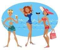 ladies1 na plaży Zdjęcie Stock