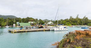 LaDigue hamn, Seychellerna, ledare Arkivfoto