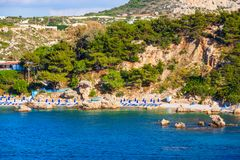 Anthony Quinn Bay, Rhodes island. Ladiko beach and Anthony Quinn Bay aerial panoramic view in Rhodes island in Greece stock photos