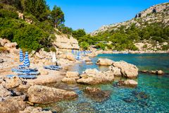 Anthony Quinn Bay, Rhodes island. Ladiko beach and Anthony Quinn Bay aerial panoramic view in Rhodes island in Greece royalty free stock image