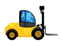 Ladingslader construeer gele auto voor de bouw van bedrijf die en gevaarlijk pallet vectorvoertuig leegmaken laden vector illustratie