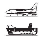 Ladingsvervoer door overzees en door de lucht stock illustratie