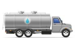 Ladingsvrachtwagen met tank voor het vervoeren van vloeistoffen vectorillustrati Stock Afbeeldingen