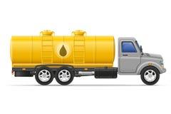 Ladingsvrachtwagen met tank voor het vervoeren van vloeistoffen vectorillustrati Stock Foto's