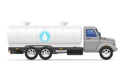Ladingsvrachtwagen met tank voor het vervoeren van vloeistoffen vectorillustrati Stock Afbeelding