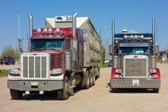 Ladingsvrachtwagens bij een parkeerplaats in Canada worden geparkeerd dat stock afbeelding
