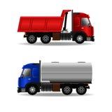 Ladingsvrachtwagens op wit worden geïsoleerd dat Royalty-vrije Stock Afbeelding