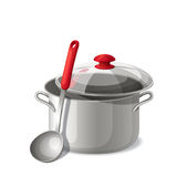 Ladle with a pan  on white. Vector illustration. Stock Photos