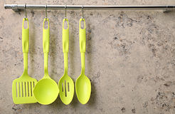 Ladle, spoon and kitchen utensils Royalty Free Stock Photography