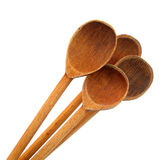 Ladles wooden four isolated on white background Stock Photo
