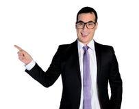 Lado apontando engraçado do homem de negócio Fotos de Stock