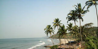 Lado da praia sorrunded com árvores de coco Fotografia de Stock Royalty Free
