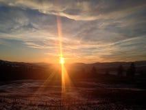 Lado de la puesta del sol del camino Foto de archivo libre de regalías