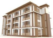Lado del aislante exterior de madera del edificio de oficinas 3D Imagen de archivo