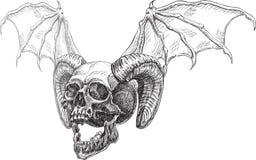 Lado del cráneo y cuernos y alas Fotografía de archivo libre de regalías