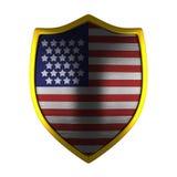 Lado del escudo del oro de los E.E.U.U. encendido Imágenes de archivo libres de regalías