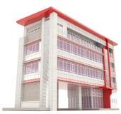 Lado del exterior moderno del edificio de oficinas 3D
