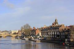 Lado del río de Reino Unido de la ciudad de York Fotos de archivo
