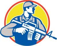 Lado del rifle de Military Serviceman Assault del soldado retro Imagen de archivo libre de regalías