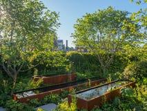Lado derecho Chelsea Flower Show 2017 Zoe Ball Listening Garden en quien la música está jugando debajo de la tierra Foto de archivo libre de regalías