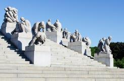 Lado direito dos detalhes das estátuas de Vigeland Fotografia de Stock Royalty Free