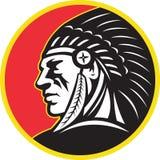 Lado do chefe indiano do nativo americano Imagens de Stock Royalty Free