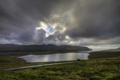 Lado do país do lago (Eidisvatn), Faroe Island, Dinamarca, Europa Foto de Stock Royalty Free