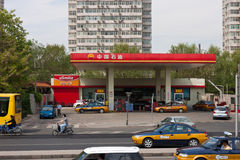 Lado do posto de gasolina da cidade da estrada Fotografia de Stock