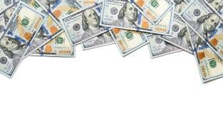 Lado do quadro um com 100 notas de dólar Fotos de Stock Royalty Free