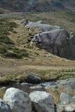 Lado gramíneo da montanha com córrego Fotos de Stock