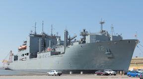Lado militar Norfolk Virginia del embarcadero del acorazado Fotografía de archivo