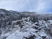 Lado nevado da montanha Fotografia de Stock