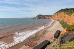 Lado oeste de Devon da praia de Sidmouth desta cidade popular do turista Fotografia de Stock