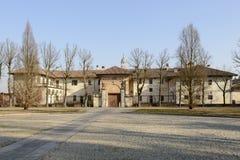 Lado oeste de la abadía de Certosa, Pavía, Italia Imagenes de archivo